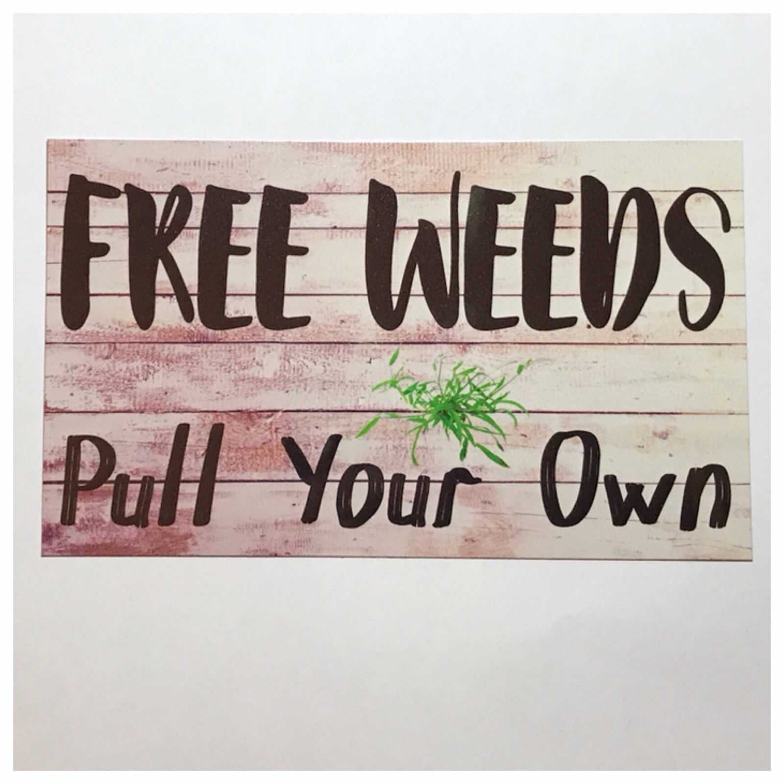 Free Weeds Pull Your Own Garden Sign Plaques & Signs The Renmy Store