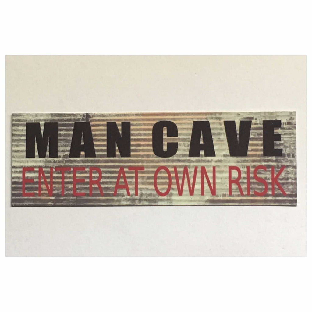 Man Cave Enter At Own Risk Rustic Garage Room Sign Wall Plaque or Hanging - The Renmy Store