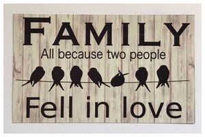 Family All Because Two People Fell In Love Birds Sign Wall Plaque or Hanging Plaques & Signs The Renmy Store