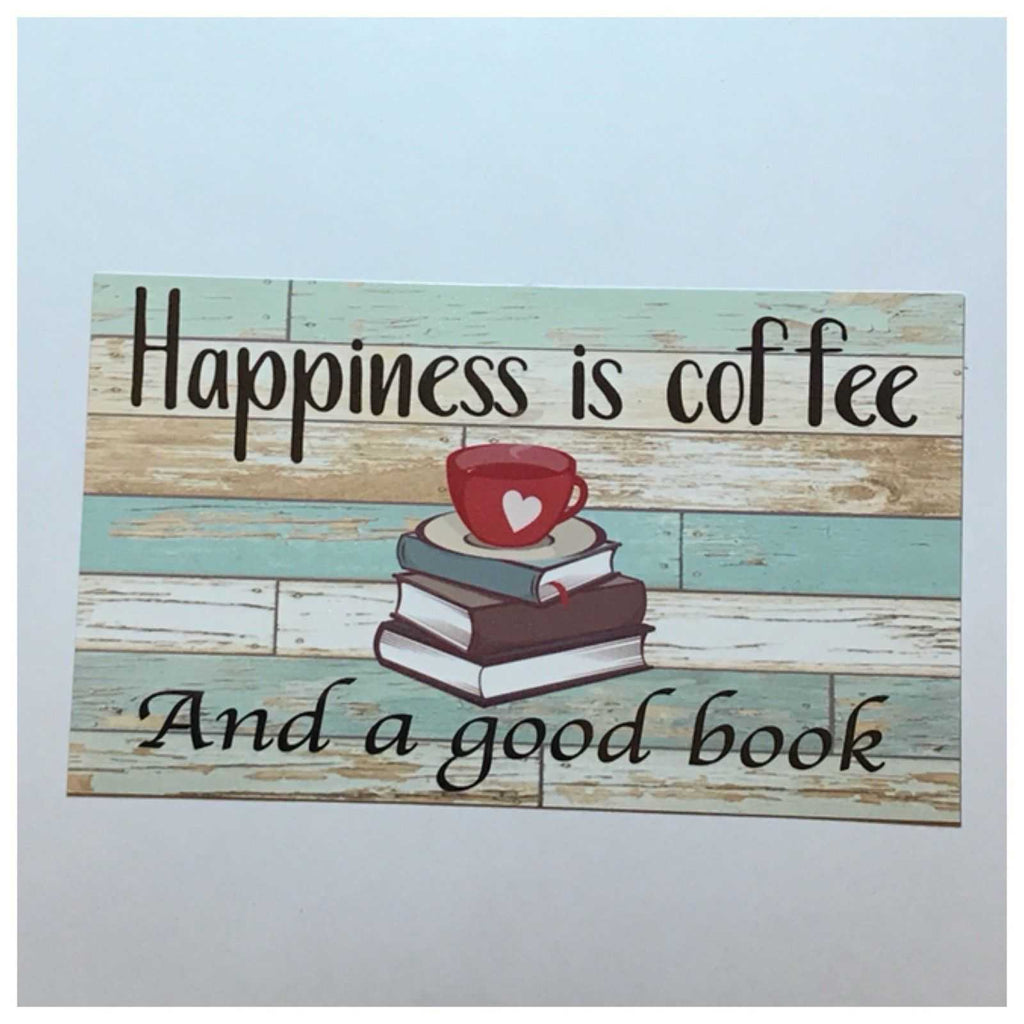 Coffee Book Happiness Sign Wall Plaque Or Hanging - The Renmy Store