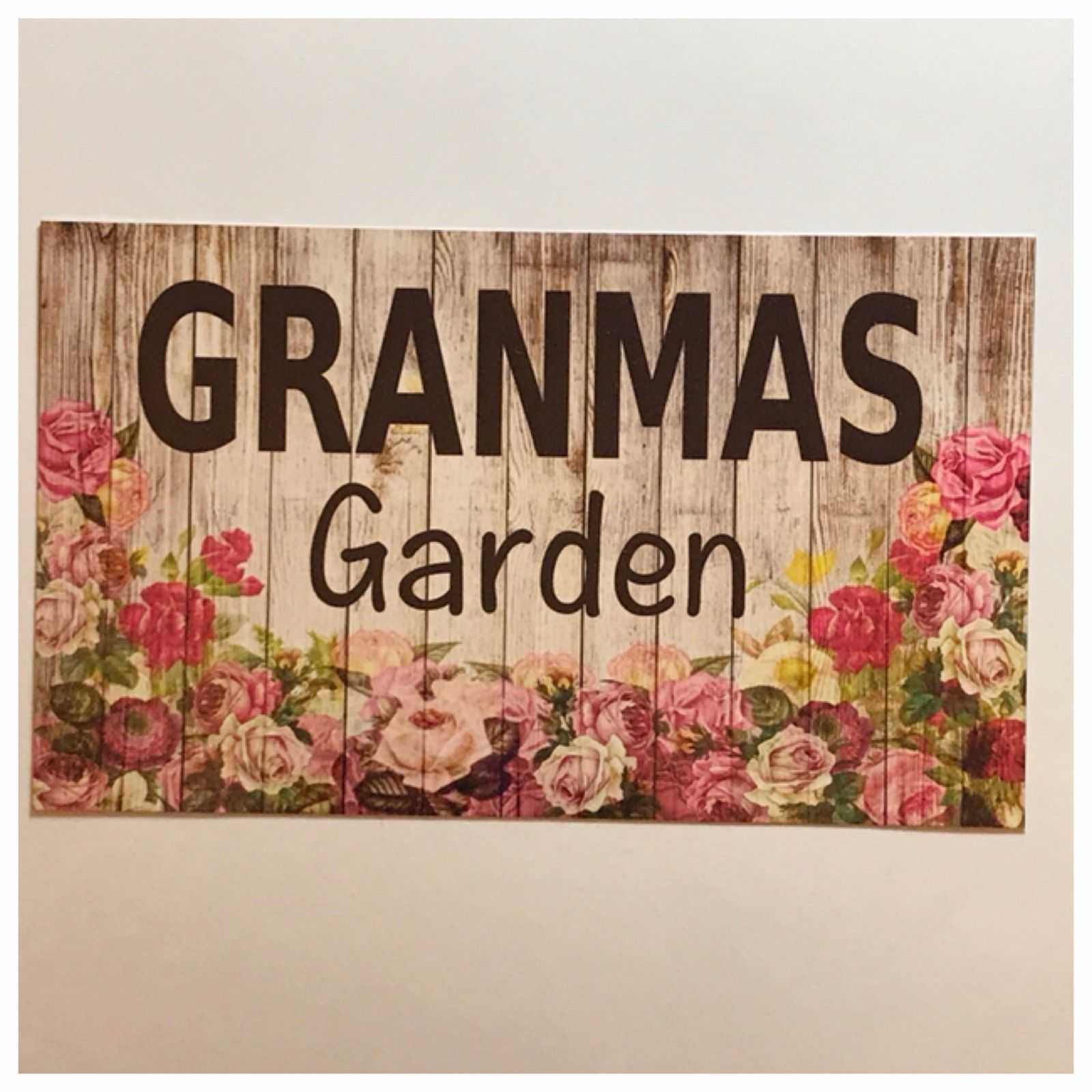 Granmas Garden Sign Floral Plaques & Signs The Renmy Store