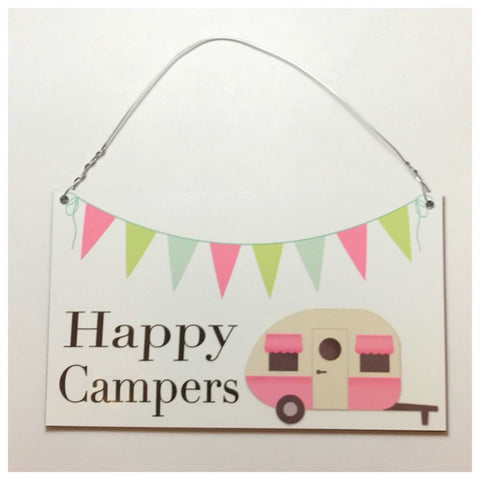 Happy Campers Sign Tin/Plastic Rustic Wall Plaque House Caravan Camping Tent - The Renmy Store