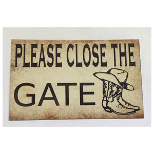 Please Close The Gate Country Sign Wall Plaque Or Hanging Plaques & Signs The Renmy Store