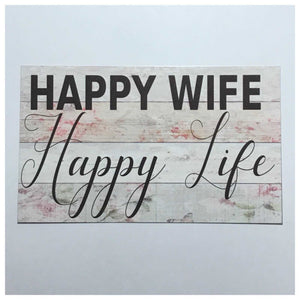 Happy Wife Life Sign Wall Plaque Or Hanging Plaques & Signs The Renmy Store
