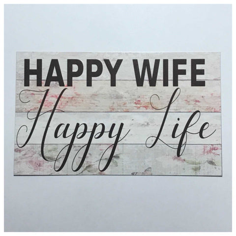 Happy Wife Life Sign Wall Plaque Or Hanging - The Renmy Store