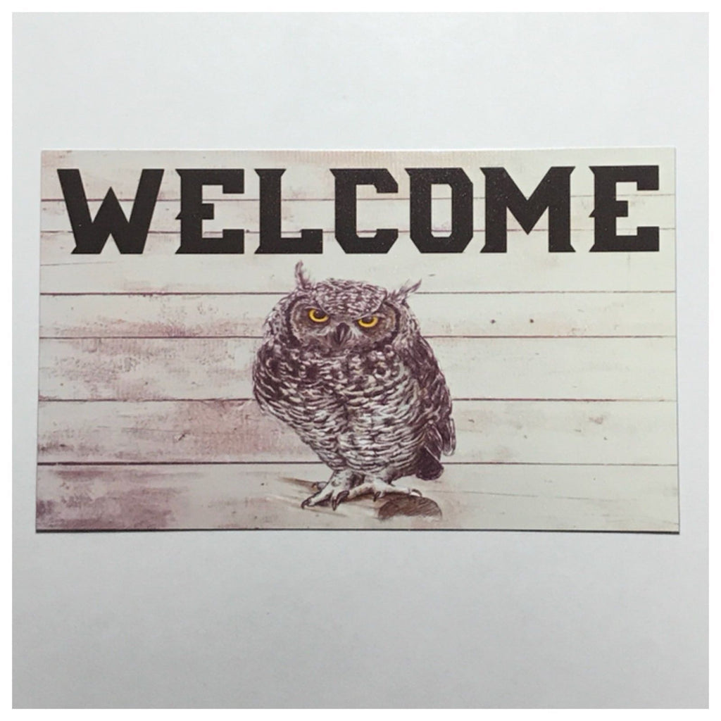 Welcome Owl Sign Tin/Plastic Wall Plaque Country Home House Hanging Vintage - The Renmy Store