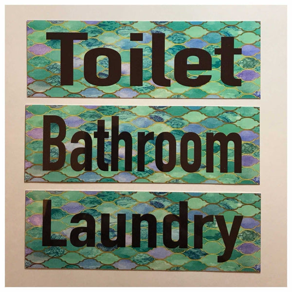 Moroccan Aqua Green Door Room Sign Toilet Laundry Bathroom Plaques & Signs The Renmy Store