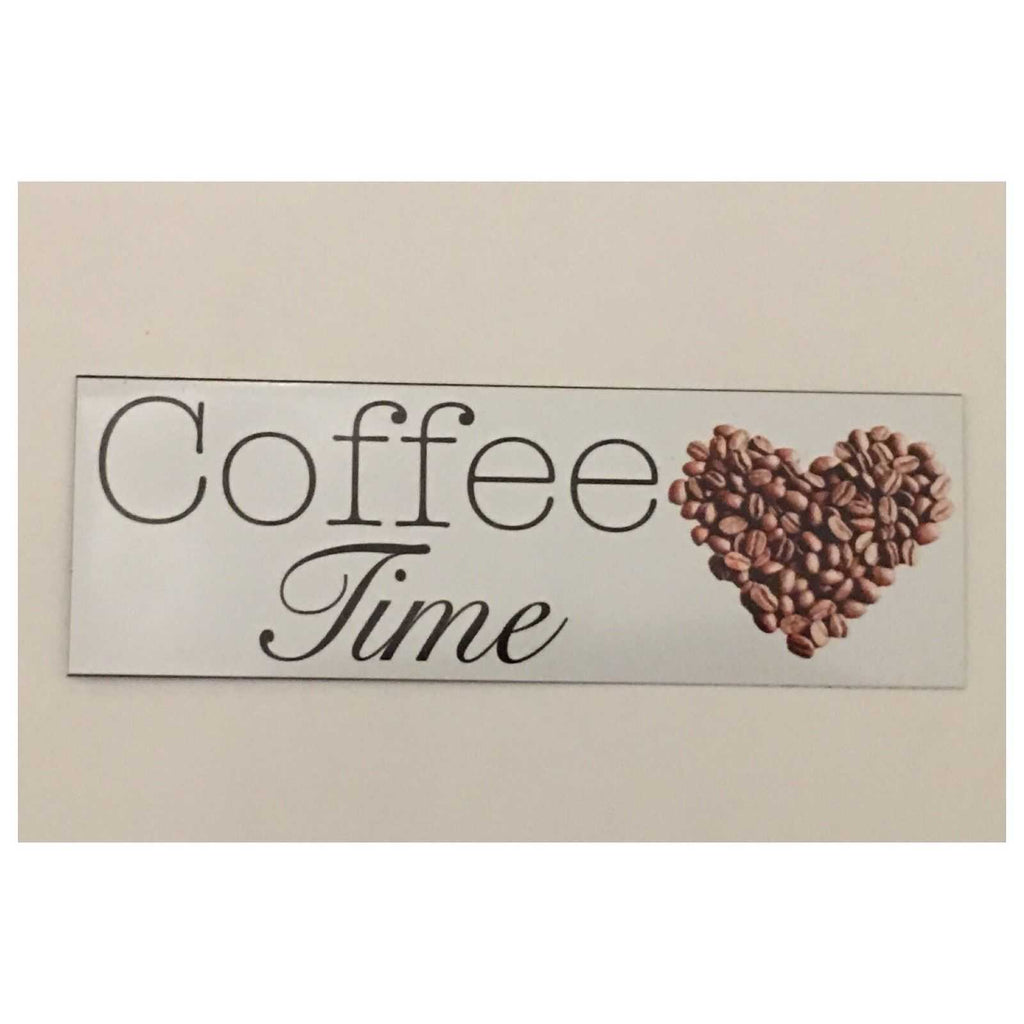 Coffee Time with Bean Heart Sign Wall Plaque or Hanging - The Renmy Store