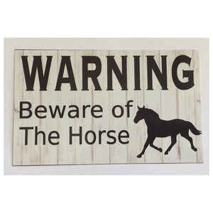 Warning Beware Of Horse Sign Wall Plque Or Hanging Plaques & Signs The Renmy Store