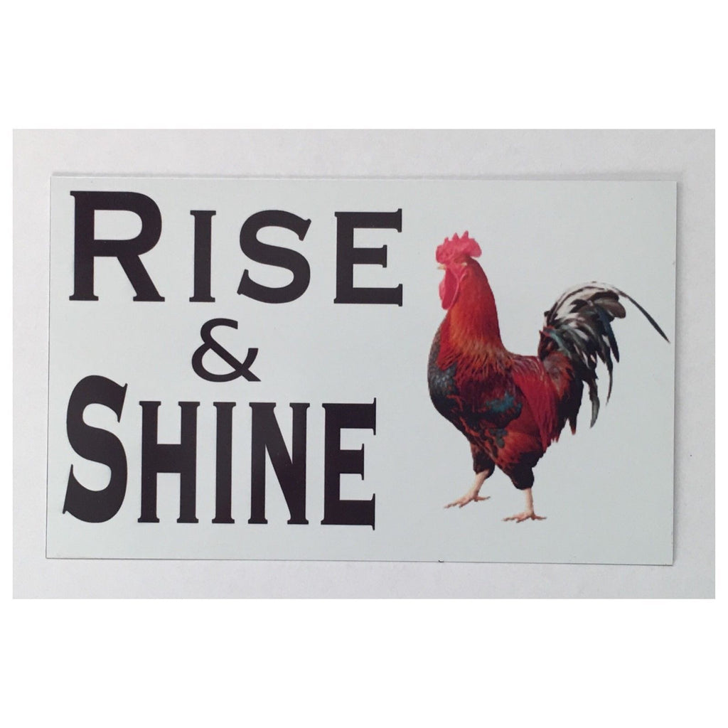 Rooster Rise & Shine Eggs Chic Sign Tin/Plastic Rustic Wall Plaque House Country - The Renmy Store