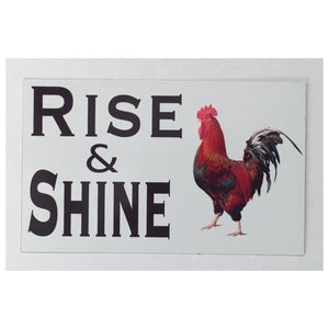 Rooster Rise & Shine Eggs Chic Sign Tin/Plastic Rustic Wall Plaque House Country Plaques & Signs The Renmy Store