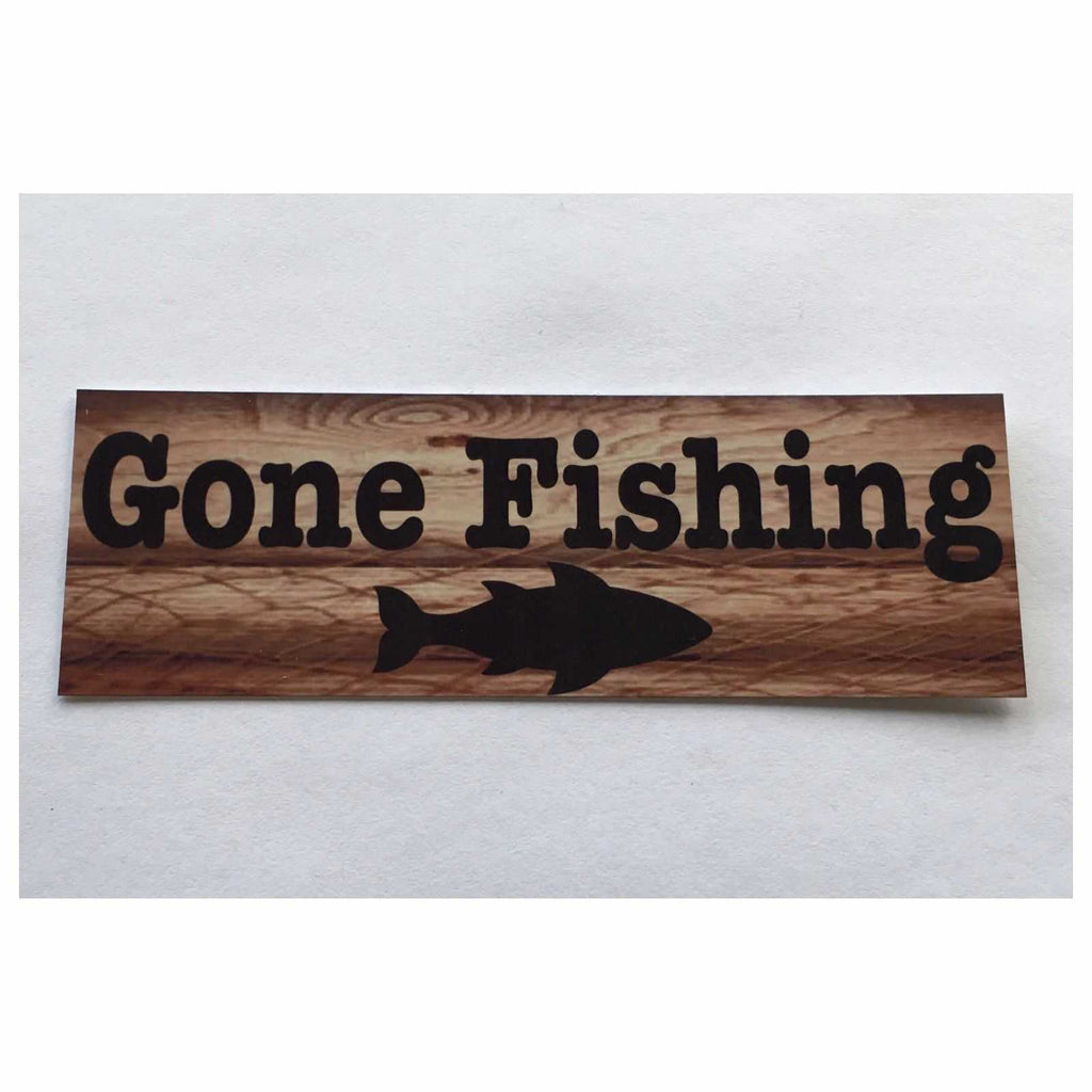 Gone Fishing with Fish Sign Hanging Or Plaque - The Renmy Store