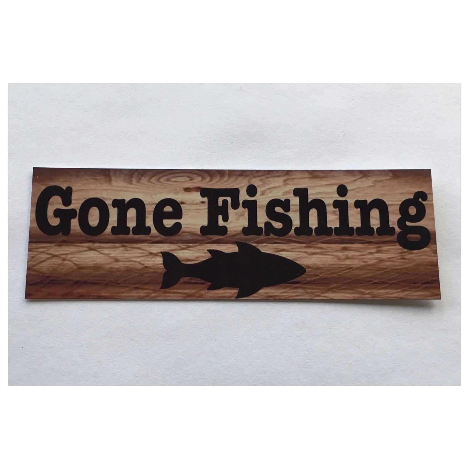 Gone Fishing with Fish Sign Hanging Or Plaque Plaques & Signs The Renmy Store