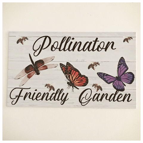Pollination Friendly Garden Bee Butterfly Dragonfly Sign - The Renmy Store