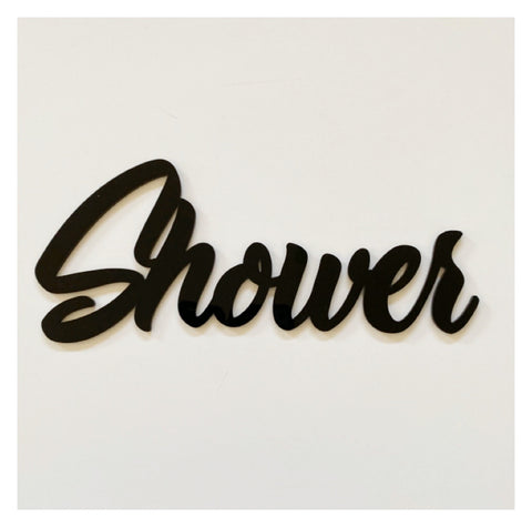 Shower Door Word Acrylic Wall Art Vintage