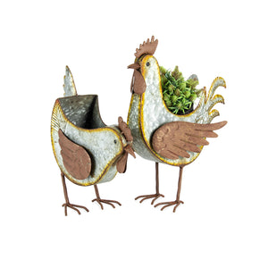 Planter Pot Planter Rustic Chickens Chook Set of 2 - The Renmy Store