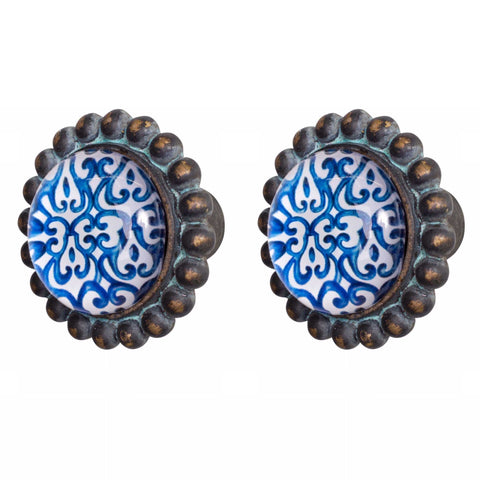 Knob DIY Set of 2 Brass Blue Indigo | The Renmy Store