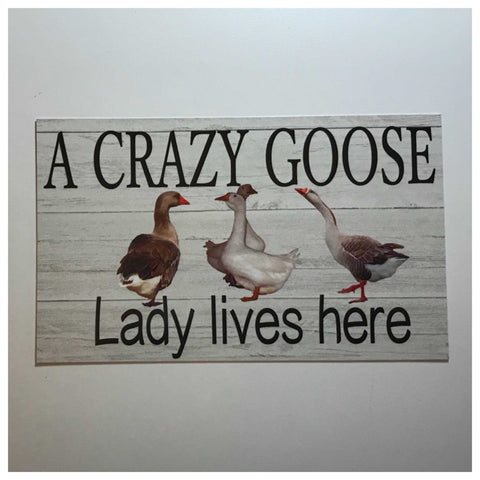 Crazy Goose Geese Lady Lives Here Sign Wall Plaque or Hanging - The Renmy Store