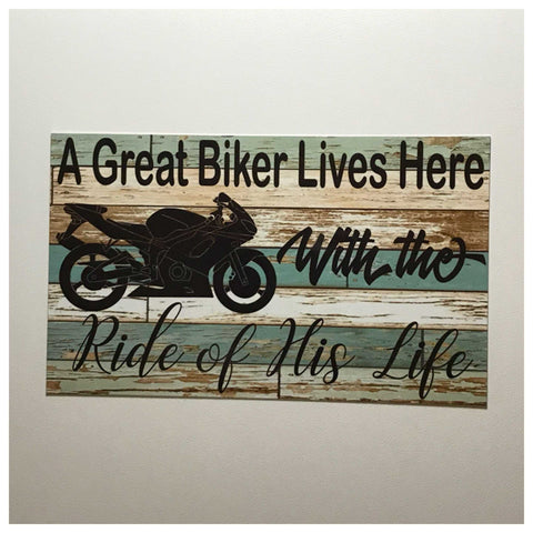 A Great Biker Lives Here Sign Plaque or Hanging Motorbike Motorcycle Shed - The Renmy Store