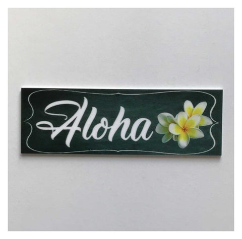Aloha Black Hawaiian Frangipani Tropical Sign