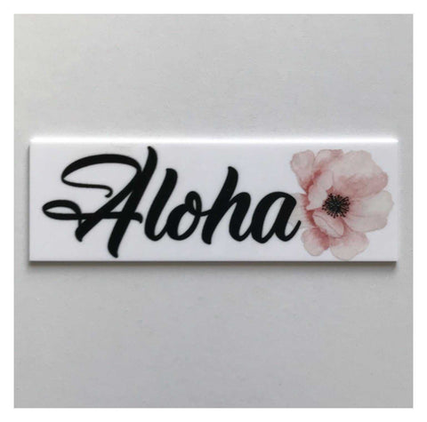Aloha Hawaiian Pink Flower Tropical Sign