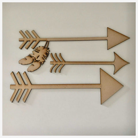 Arrow Arrows with Feather Set of 3 MDF Timber DIY Raw Craft - The Renmy Store
