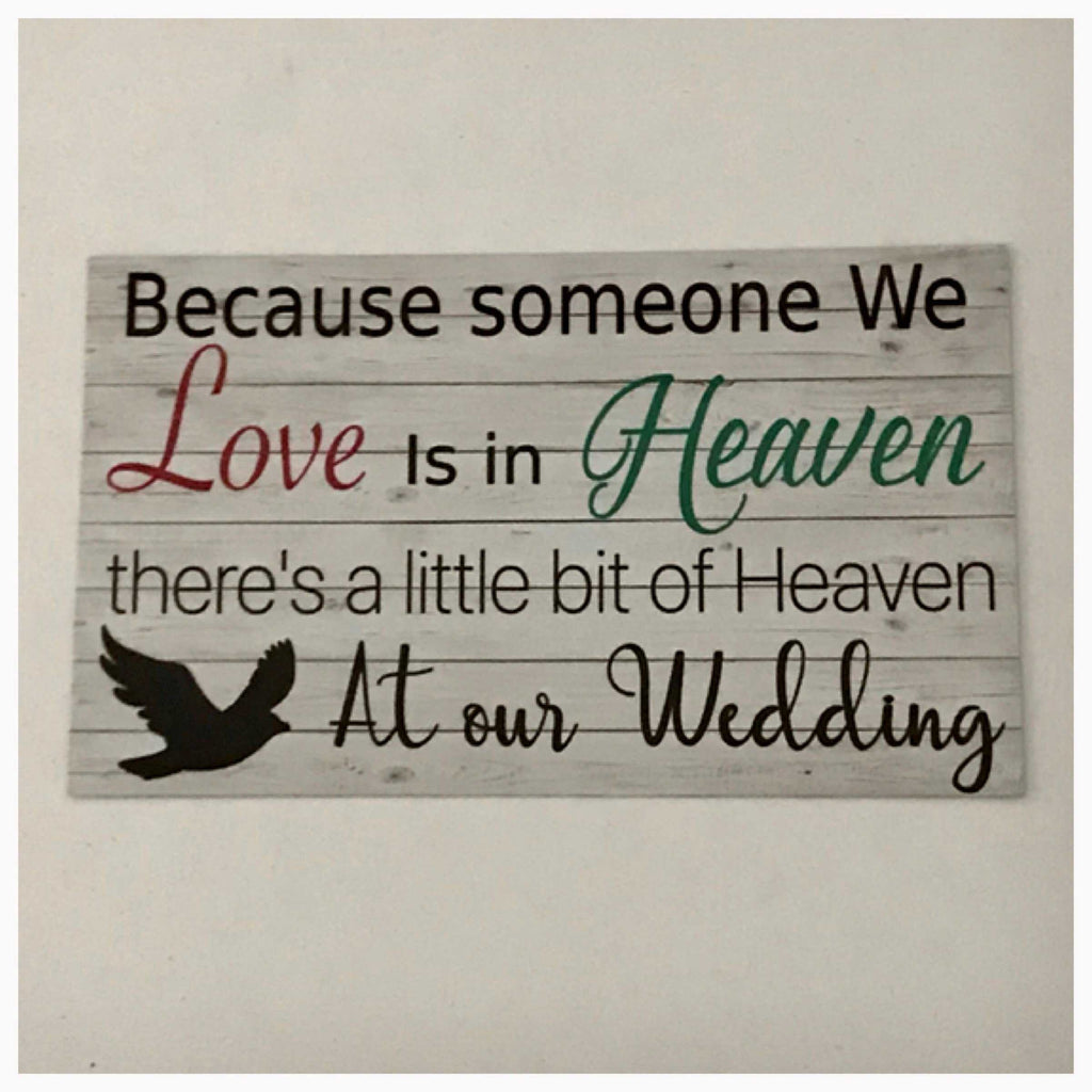 Love is in Heaven Wedding Timber Look Sign Plaque or Hanging - The Renmy Store