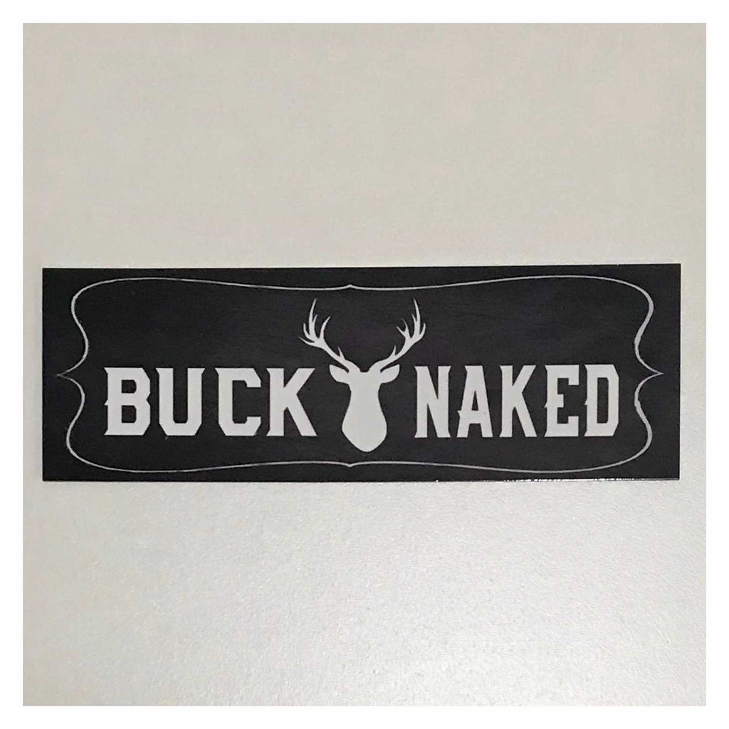 Buck Naked Stag Deer Bathroom Sign Plaque or Hanging - The Renmy Store