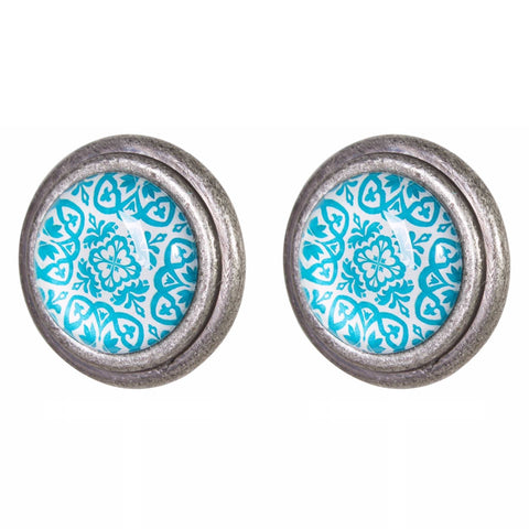 Knob DIY Set of 2 Silver Aqua Skye | The Renmy Store