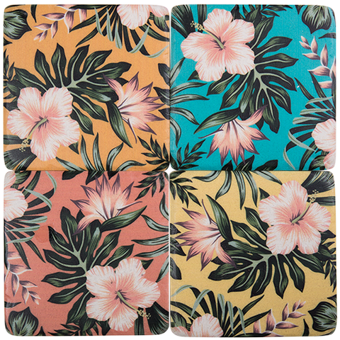 Tropical Hibiscus Flower Coaster Set of 4