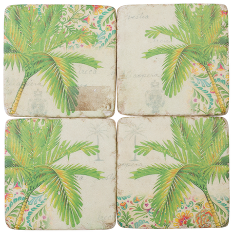 Coastal Green Palm Tree Coaster Set of 4