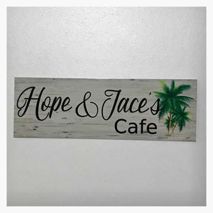 Custom Personalised Cafe Tropical Palm Trees Sign