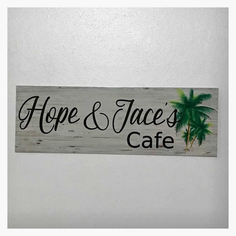 Custom Your Name Cafe Tropical Palm Trees Sign Wall Plaque or Hanging - The Renmy Store