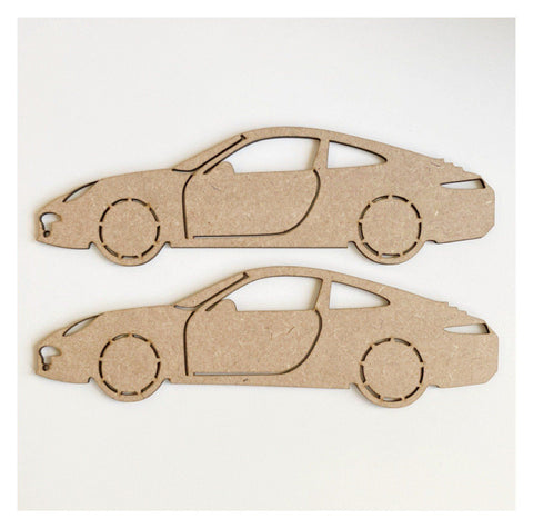 Car Porche x 2 MDF Wooden Shape DIY Cut Out Art Craft Decor