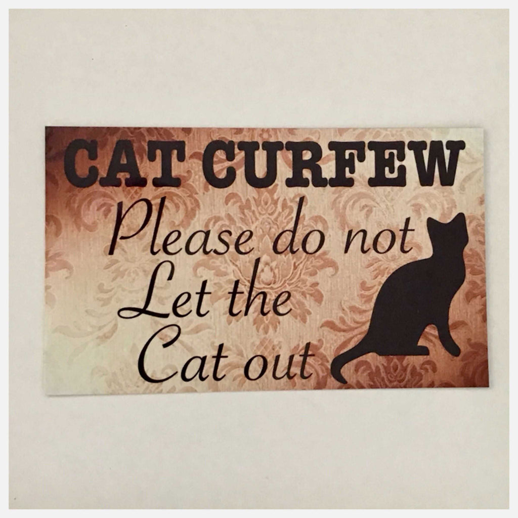 Cat Curfew Sign Wall Plaque or Hanging - The Renmy Store