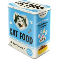 Box Tin Container Cat Food Blue Vintage Retro | The Renmy Store