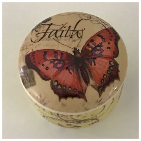 Ceramic Red Faith Butterfly Container - The Renmy Store
