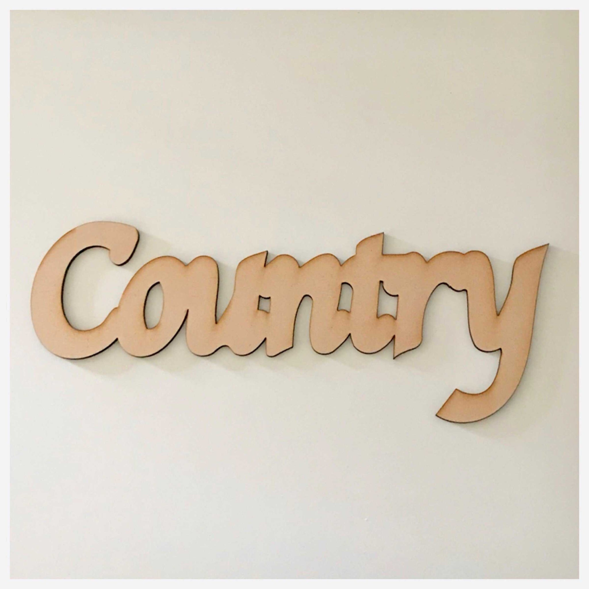 Country MDF Wooden Word Shape Raw
