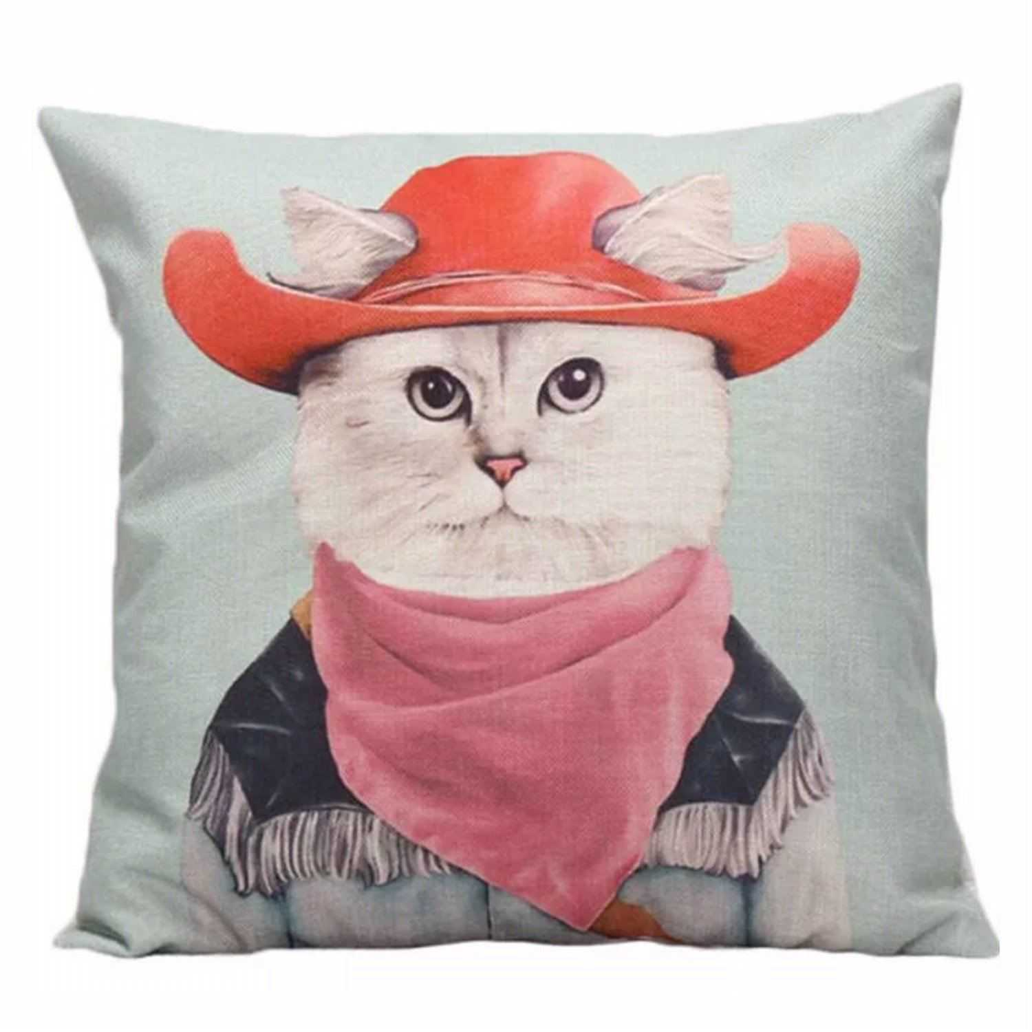 Cushion Pillow Cat Country Farm Cow Boy Hat - The Renmy Store