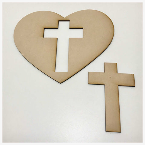 Heart & Cross MDF Shape DIY Raw Cut Out Art Craft Decor - The Renmy Store