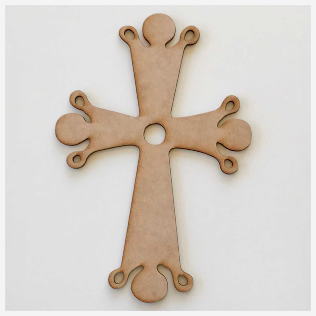 Cross with Drops MDF DIY Raw Cut Out Art Religious Craft Decor - The Renmy Store