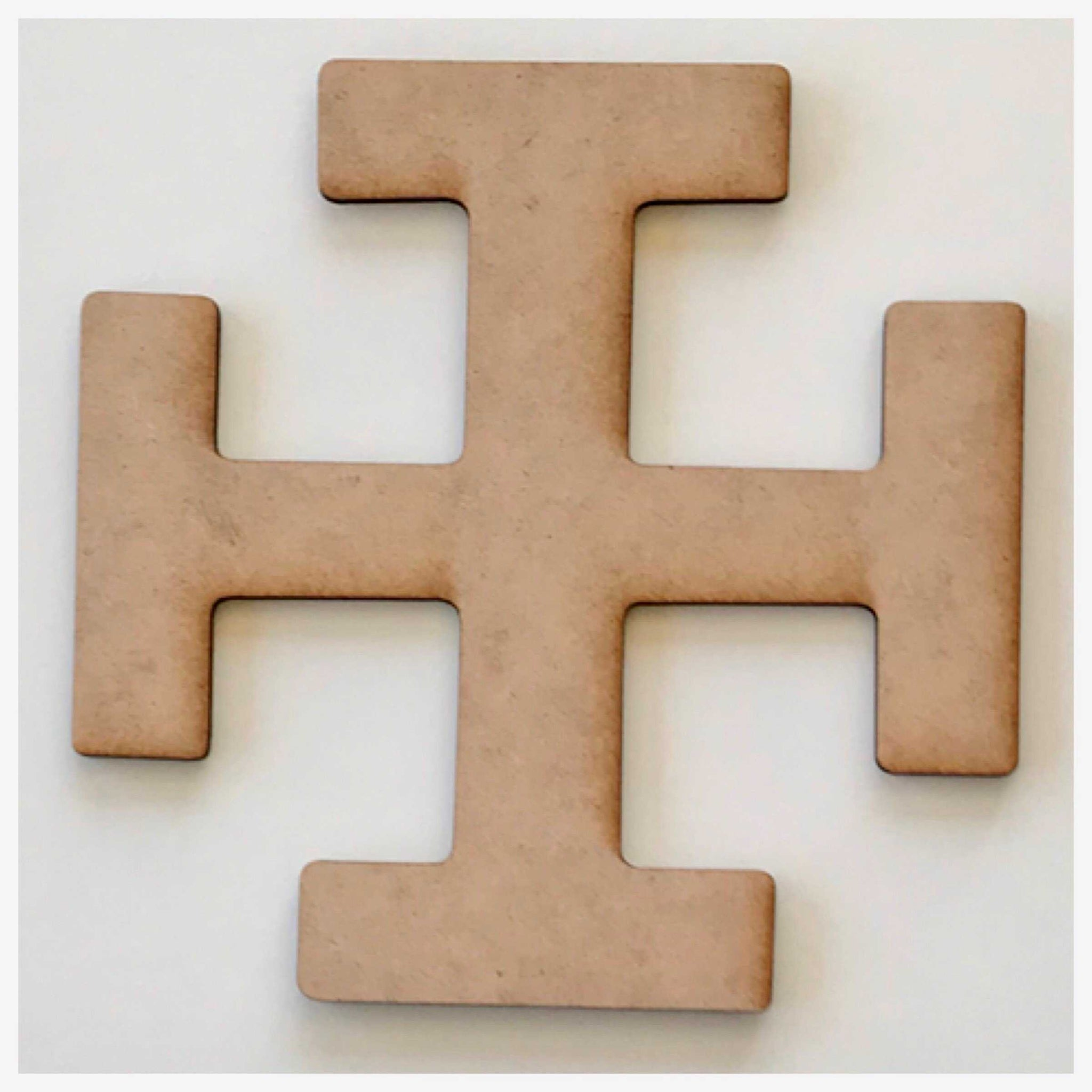 Cross with Intersections MDF Shape DIY Raw Cut Out Art Religious Craft Decor - The Renmy Store