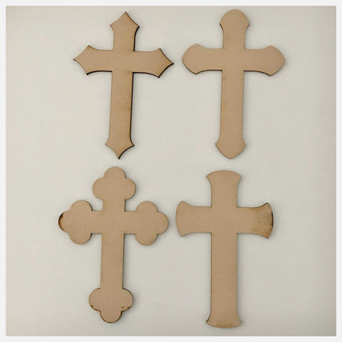 Cross MDF Set of 4 Unique Mix Small Shape DIY Raw Cut Out Art Religious Craft Decor - The Renmy Store
