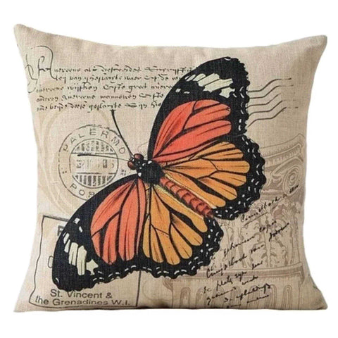 Cushion Pillow Butterfly Antique Orange - The Renmy Store