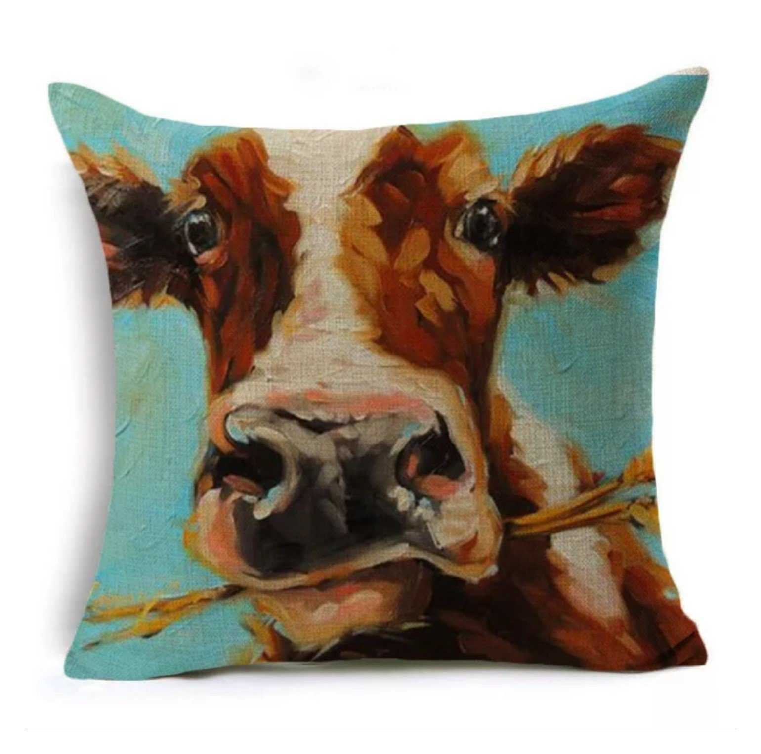 Cushion Pillow Cow Rustic Brown | The Renmy Store