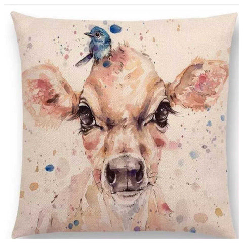 Cushion Pillow Cow with Blue Bird - The Renmy Store