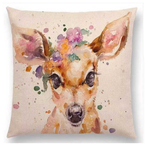 Cushion Pillow Deer Baby with Flowers - The Renmy Store