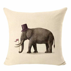 Cushion Pillow Elephant Retro with Hat