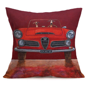 Cushion Pillow Retro Fun Dogs In Red Car - The Renmy Store
