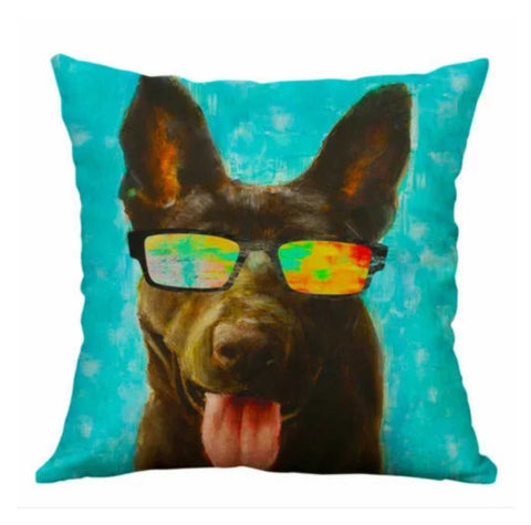 Cushion Pillow Dog Funky with Glasses